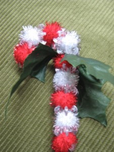 PomPom Candy cane Ornament