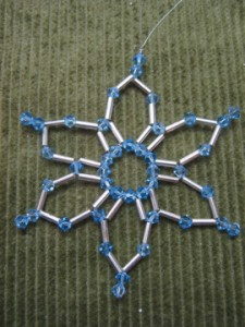 img 4042 225x300 Beaded Snowflake Ornament #3