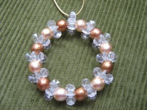 A simple beaded wreath ornament